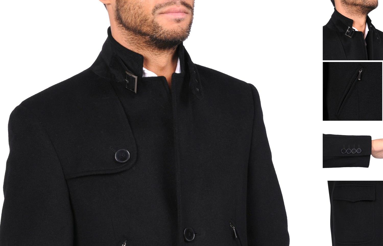Manteau mi long noir homme